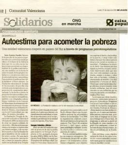 Nota del diario Levante sobre la Fundación Terapia Reencuentro